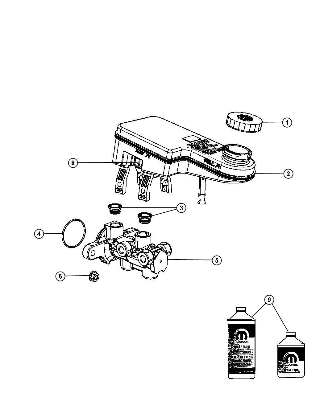 Chrysler Sebring Reservoir Brake Master Cylinder
