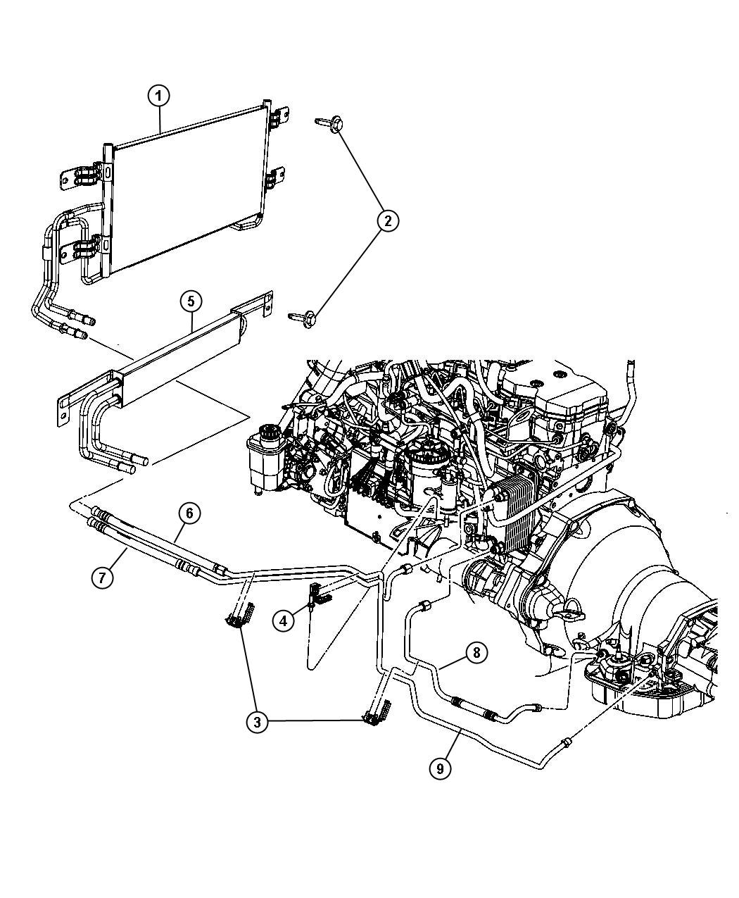 Dodge Ram 2500 Tube. Oil cooler. Pressure. Engine, diesel