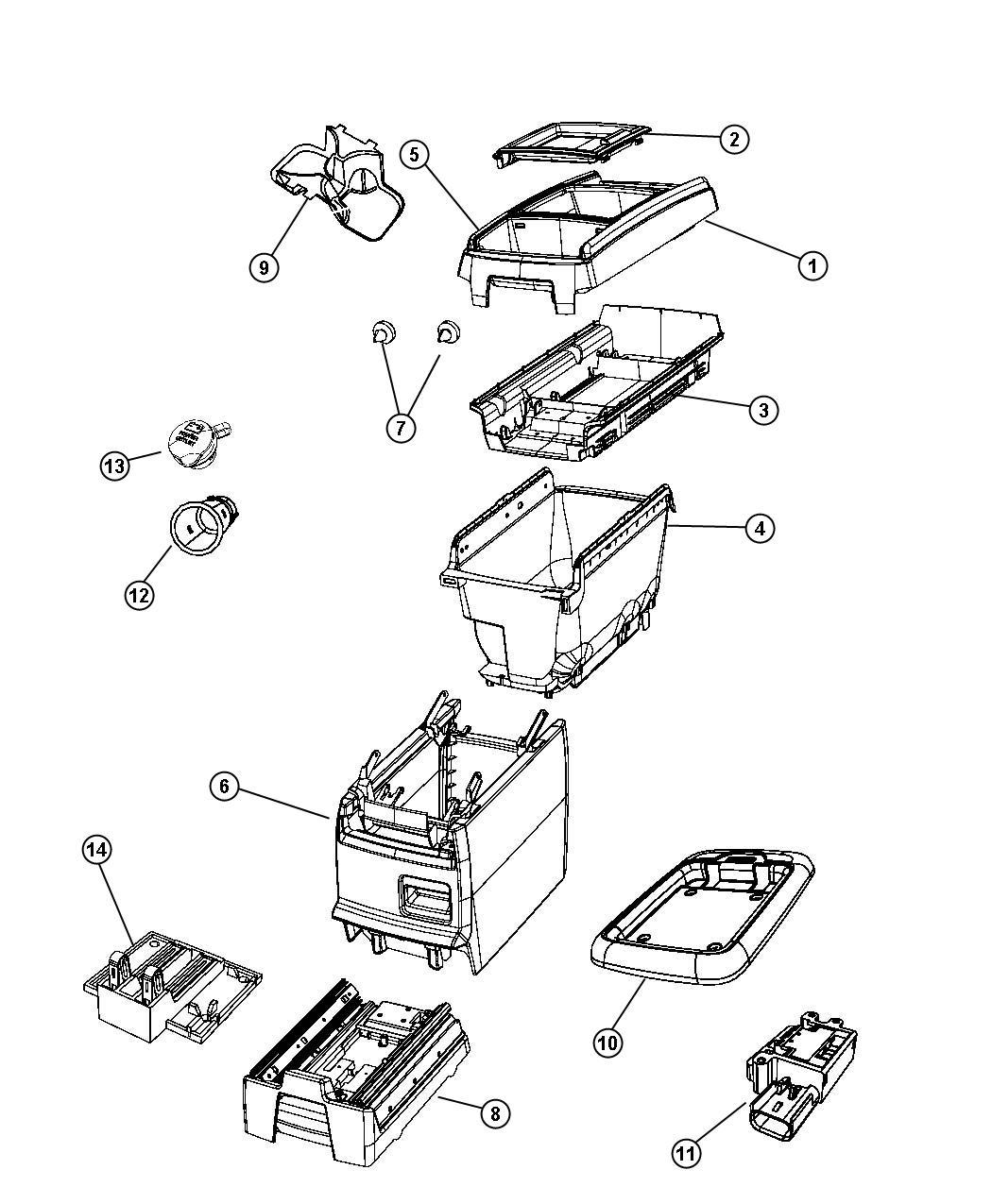 Dodge Grand Caravan Lid. Center console storage. [t1