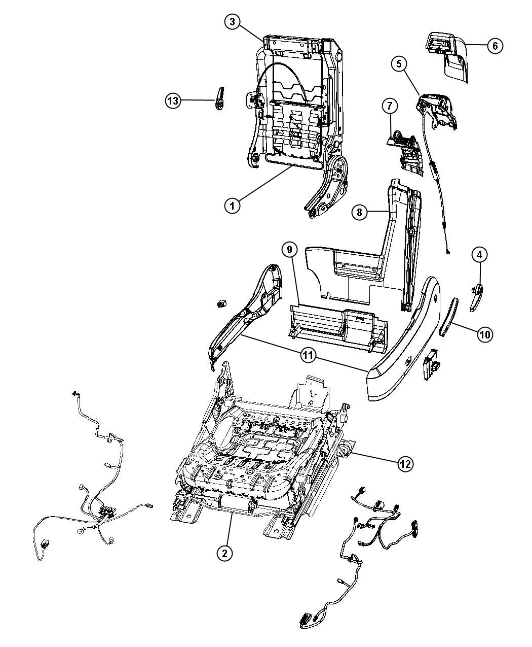 2009 Chrysler Sebring Shield. Seat adjuster. Inboard. [dv