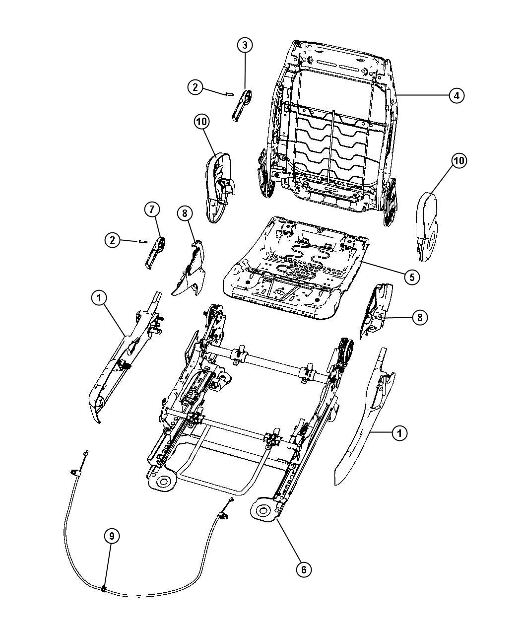 2008 Dodge Avenger Shield. Seat cushion. Outboard. Trim