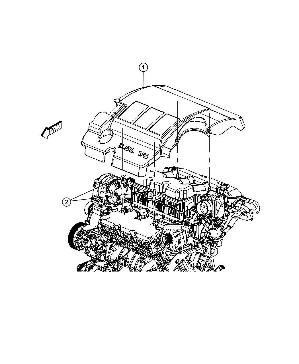 Dodge Avenger Ball stud. Mounting. Engine cover. Egf