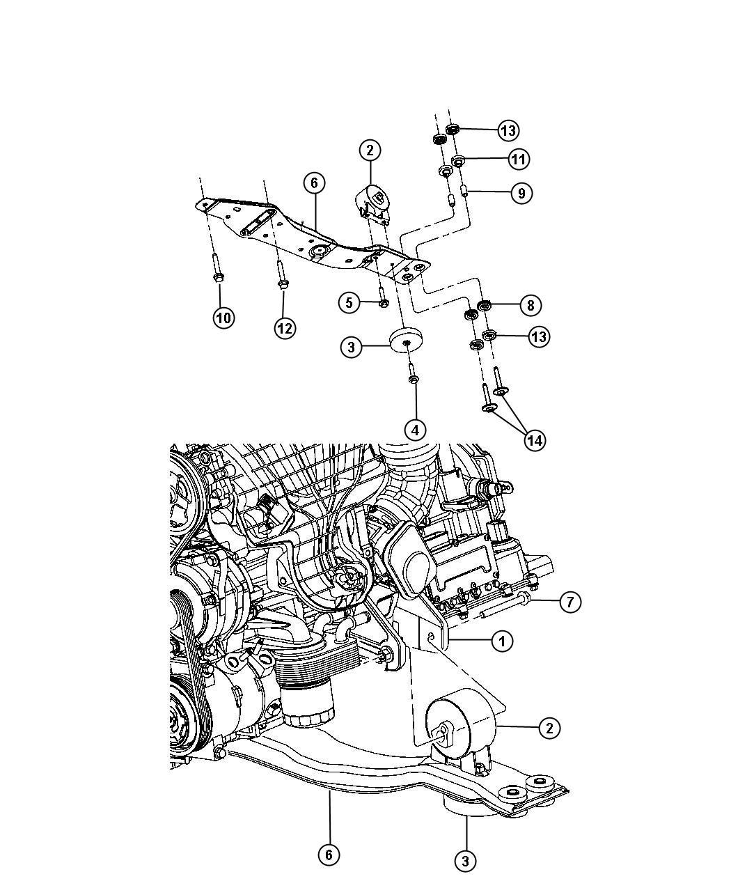 Dodge Avenger Bracket Engine Mount Front Rear 6 Speed