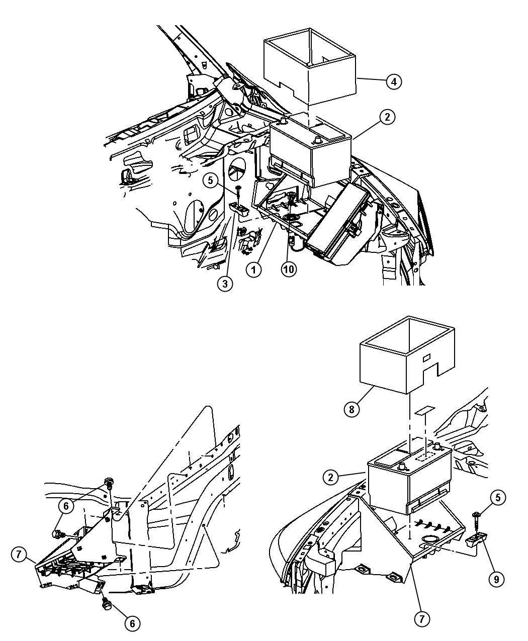 Dodge Ram 2500 Tray. Battery. Wiring, engine, engines