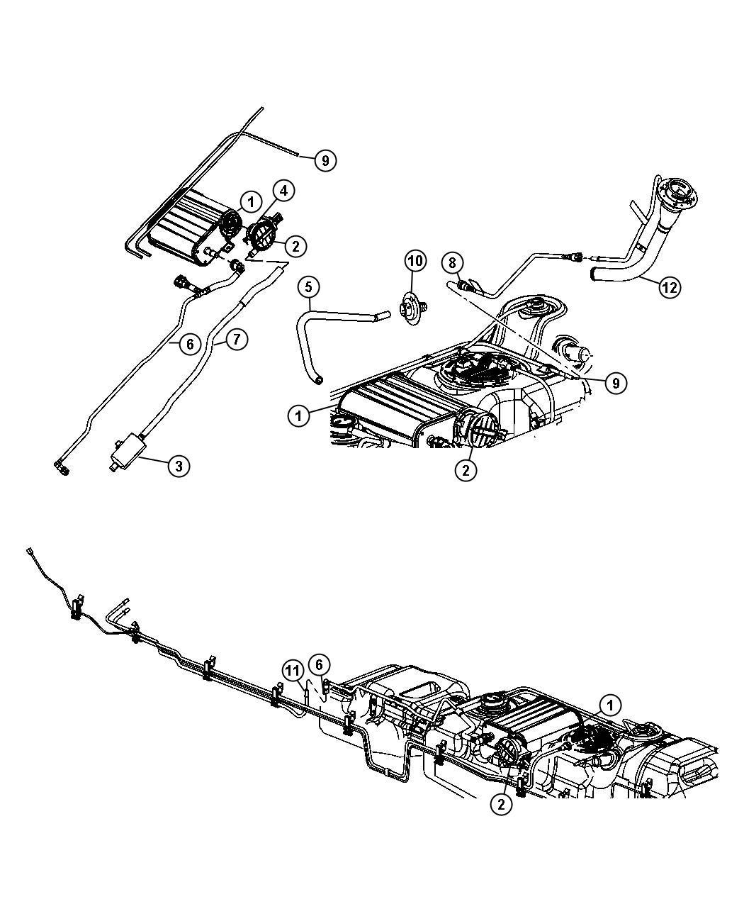 2007 Dodge Dakota Tube. Fuel vapor recirculation. [22