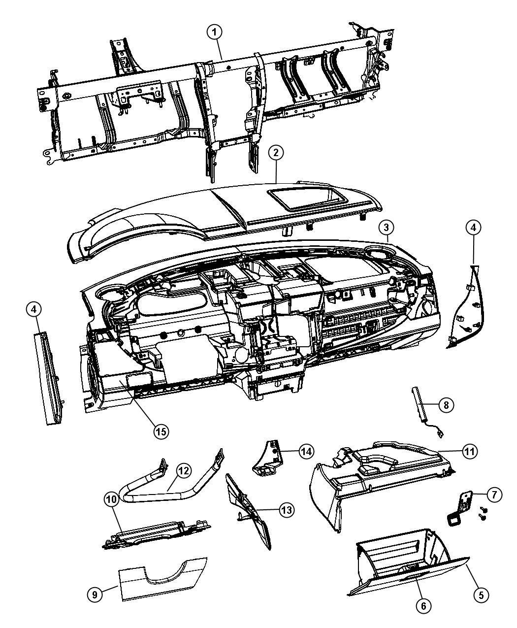 Chrysler Sebring Striker. Glove box door latch. Export