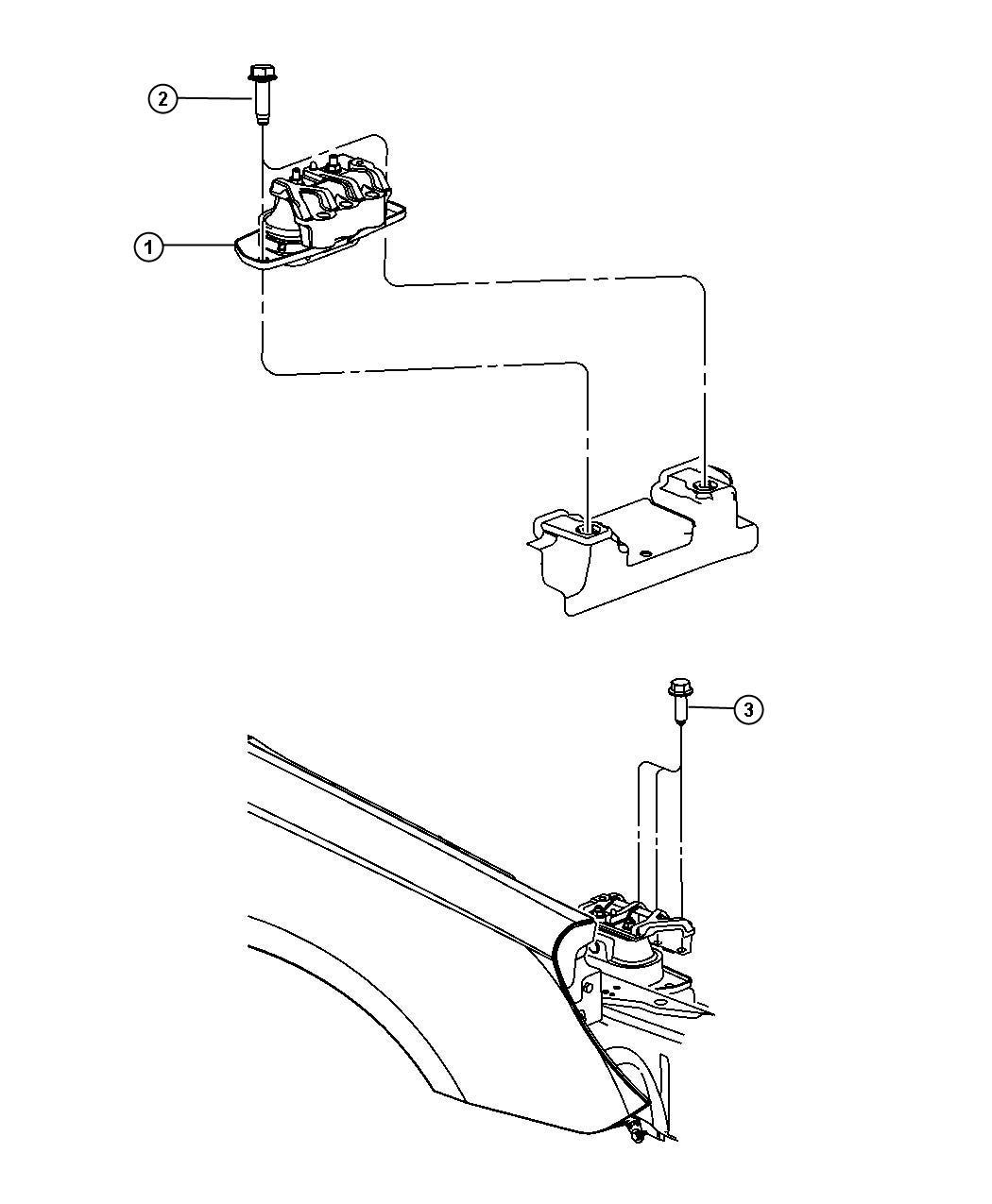 Chrysler Sebring Engine mount, isolator. Right. Right side
