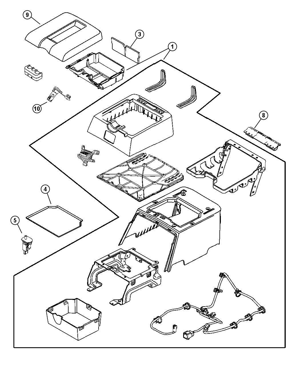 Dodge Ram 3500 Console. Floor. Rear. [d1]. Trim: [leather