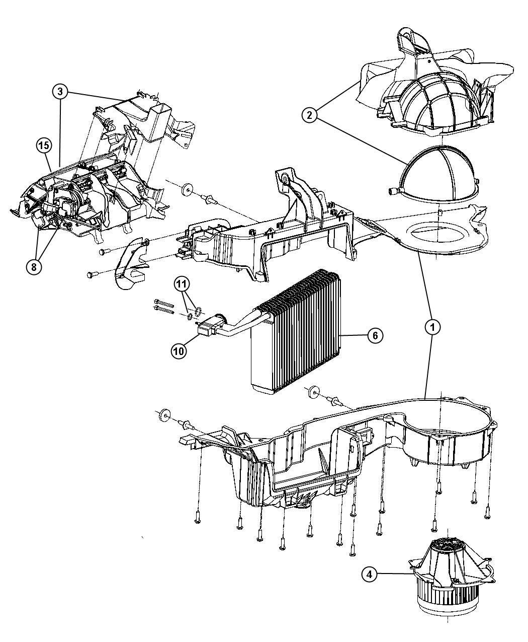 Dodge Dakota Evaporator. Air conditioning. Control, unit