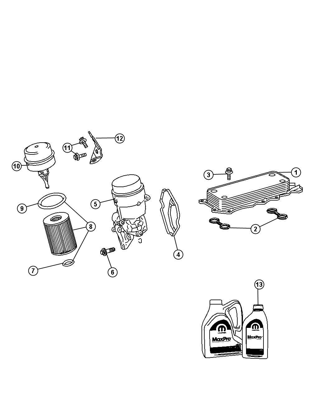 Dodge SPRINTER 3500 Gasket. Oil filter adapter, oil filter