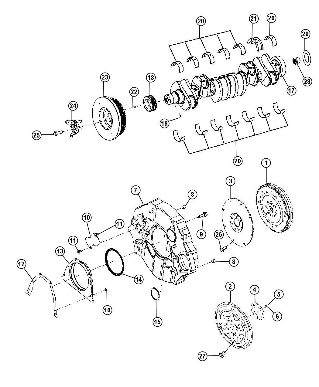 2012 Dodge Ram 2500 Dowel pin, pin. Crankshaft gear