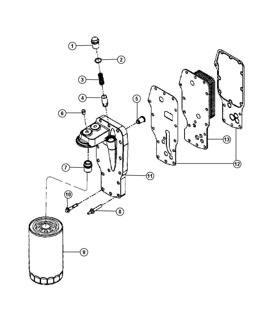 Dodge Ram 4500 Adapter, head. Oil filter. Emissions