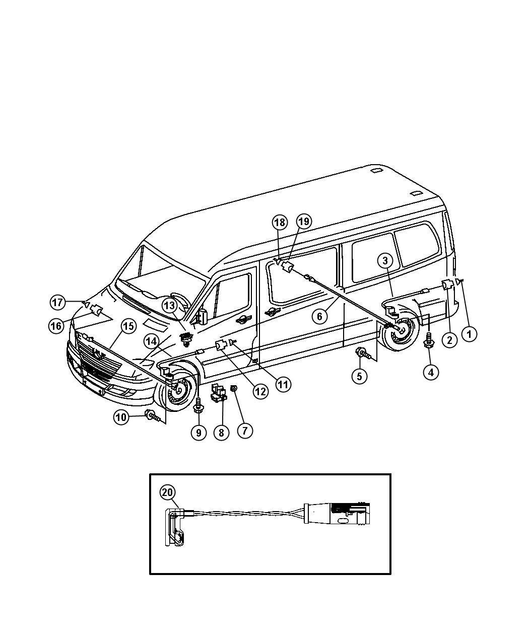 2007 Dodge SPRINTER 3500 Sensor. Wheel speed. Front axle