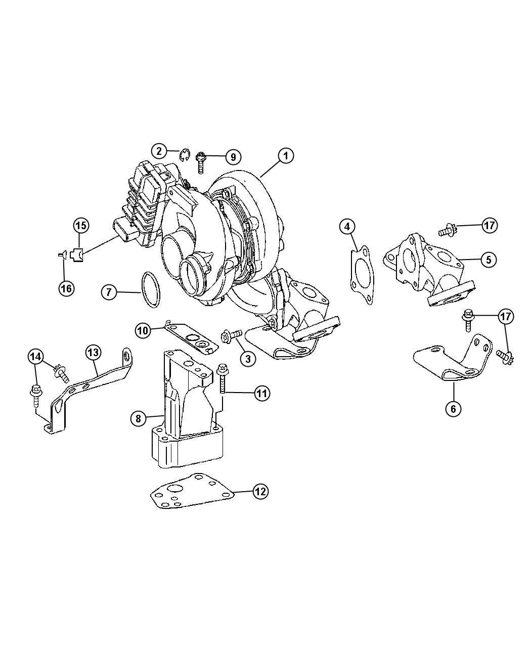Dodge SPRINTER Gasket. Turbocharger. Turbo bracket, upper