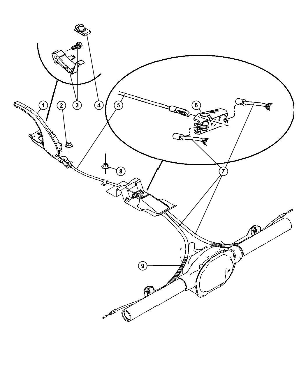Jeep Grand Cherokee Cable. Parking brake. Front. Series p
