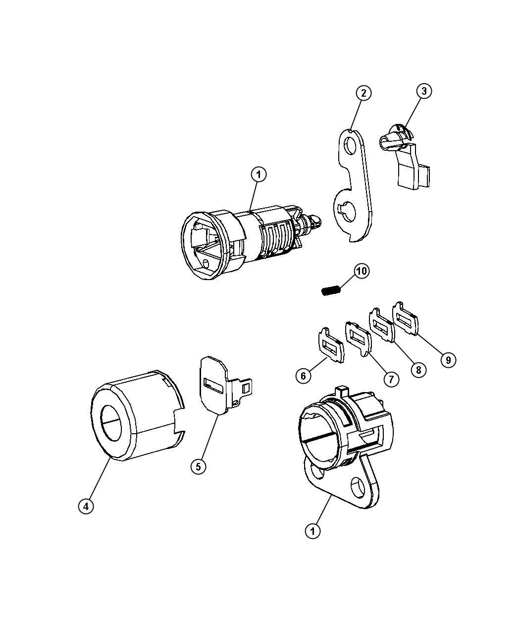 Dodge Nitro Cylinder Door Lock Export