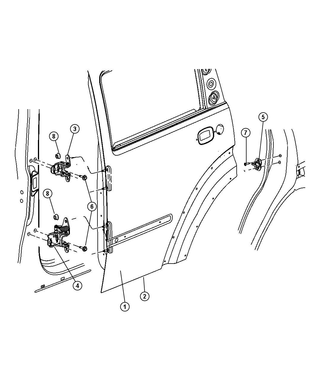 Dodge Nitro Panel Rear Door Outer Right Hinges