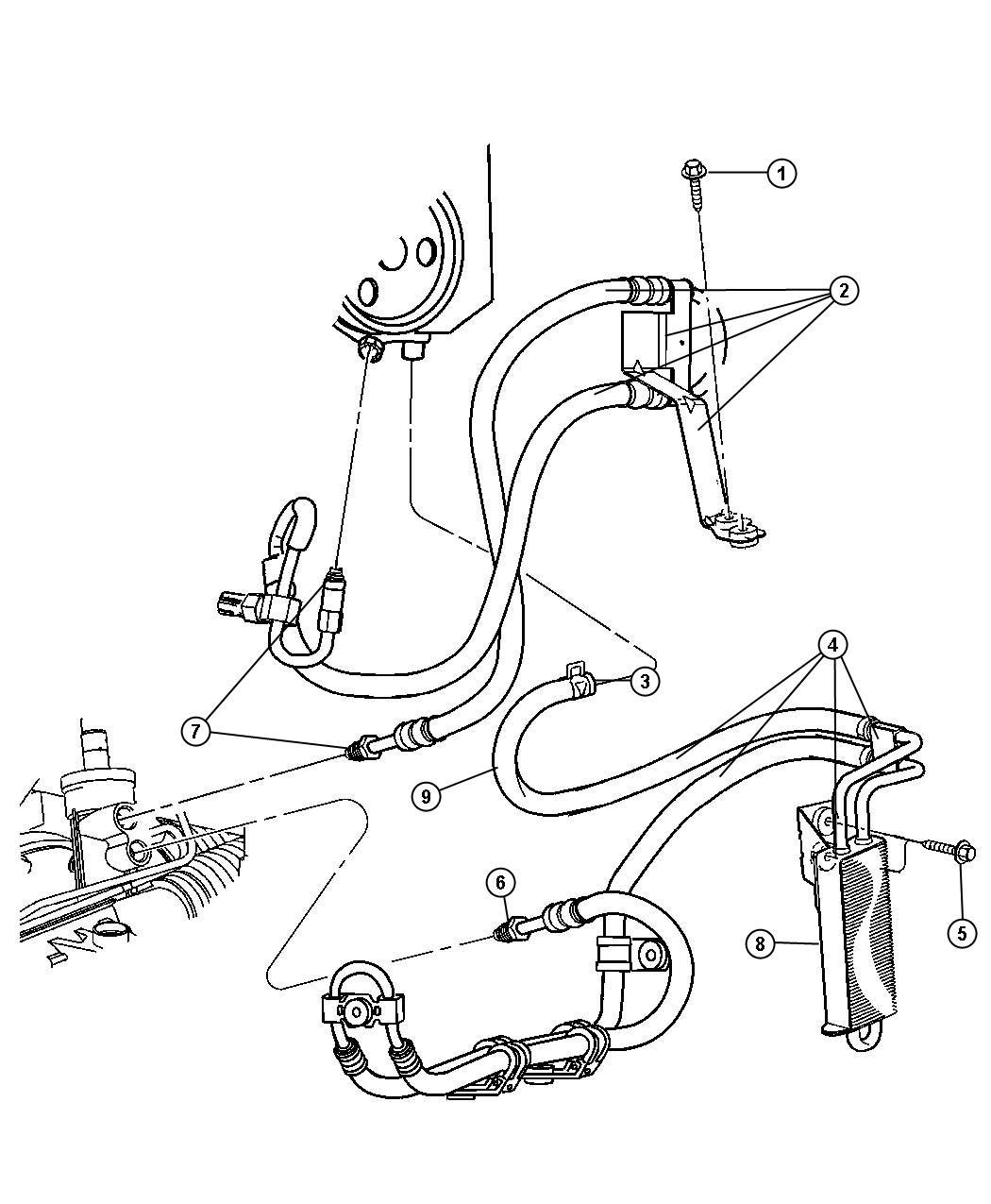 Dodge NITRO Cooler. Power steering. Hoses, suspension