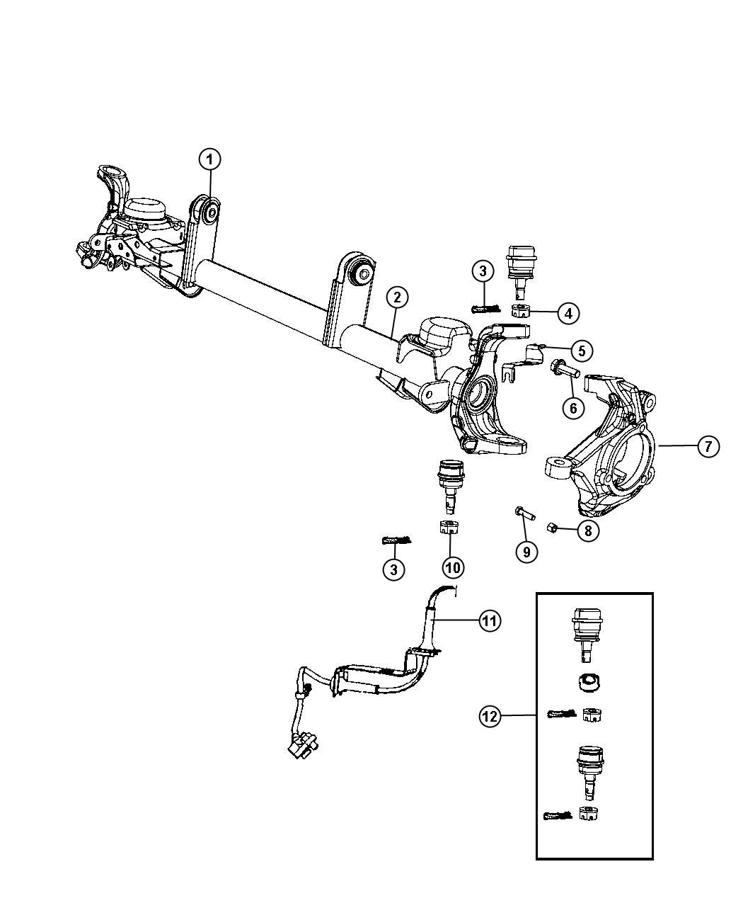 Jeep Wrangler Housing Axle With 2 Upper Control Arm