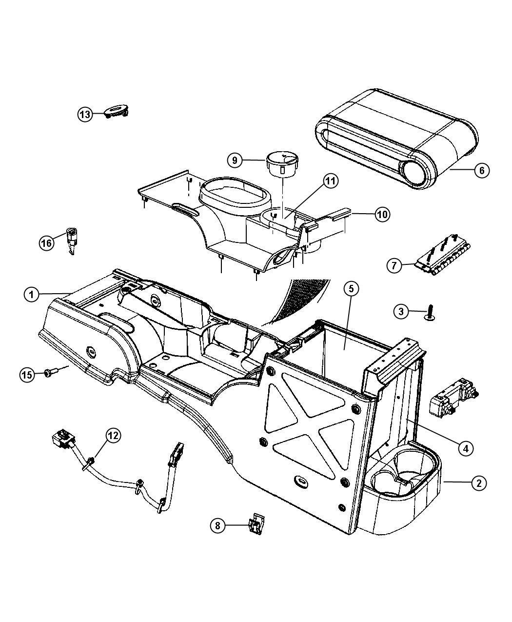 2010 Jeep Wrangler Armrest, lid. Center console storage