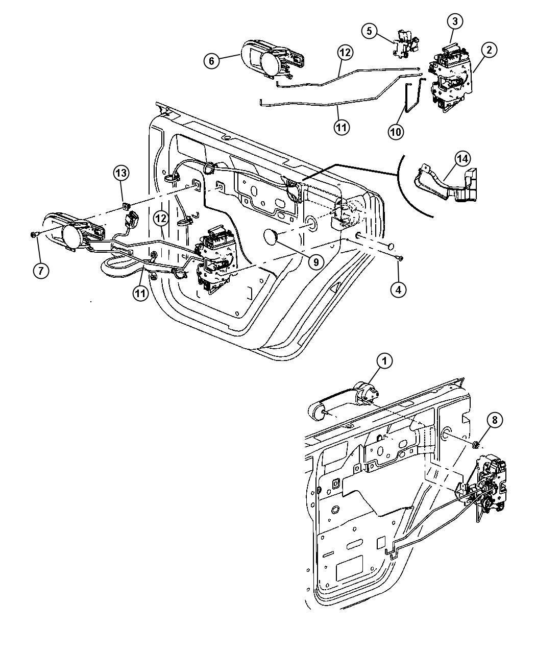 2010 Jeep Wrangler Latch. Rear door. Right. Manual, locks