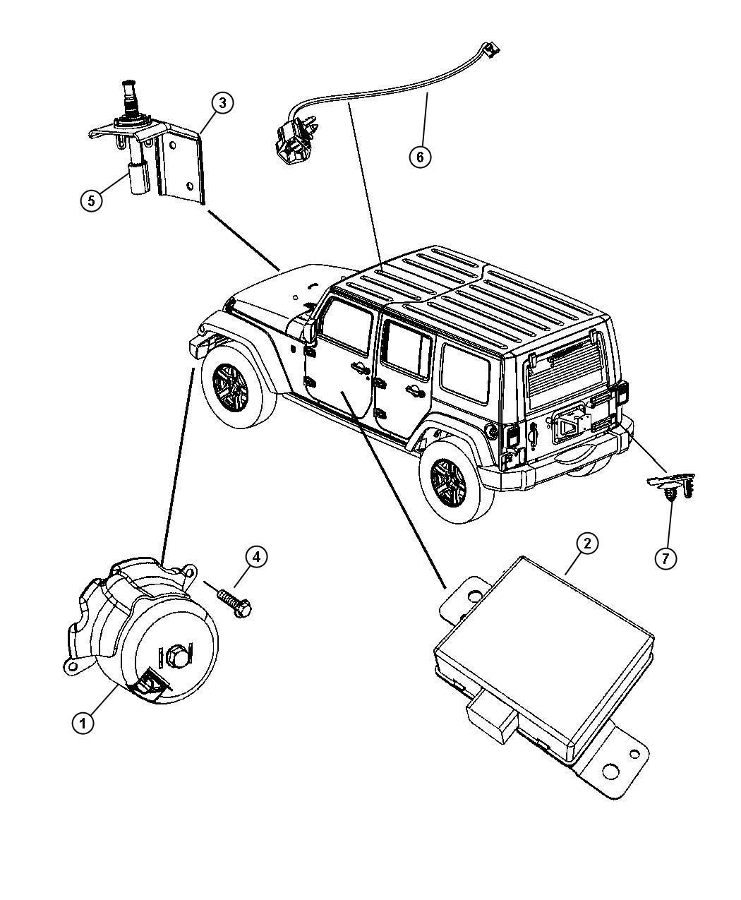 Jeep Wrangler Bracket Hood Switch Security Alarm