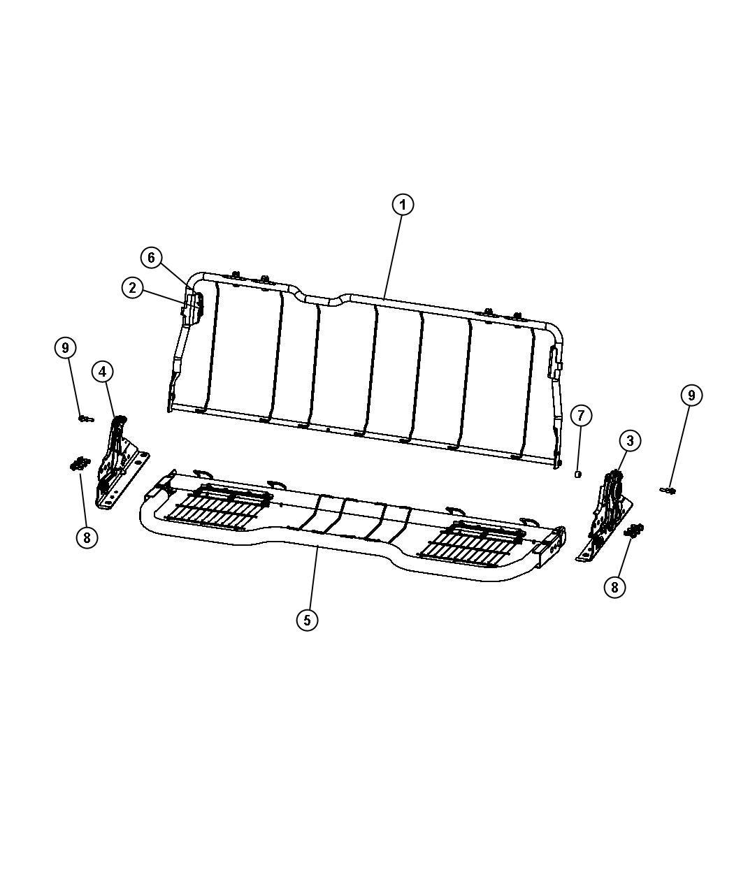 Dodge Ram 1500 Latch. Seat back. Left. [rear folding seat
