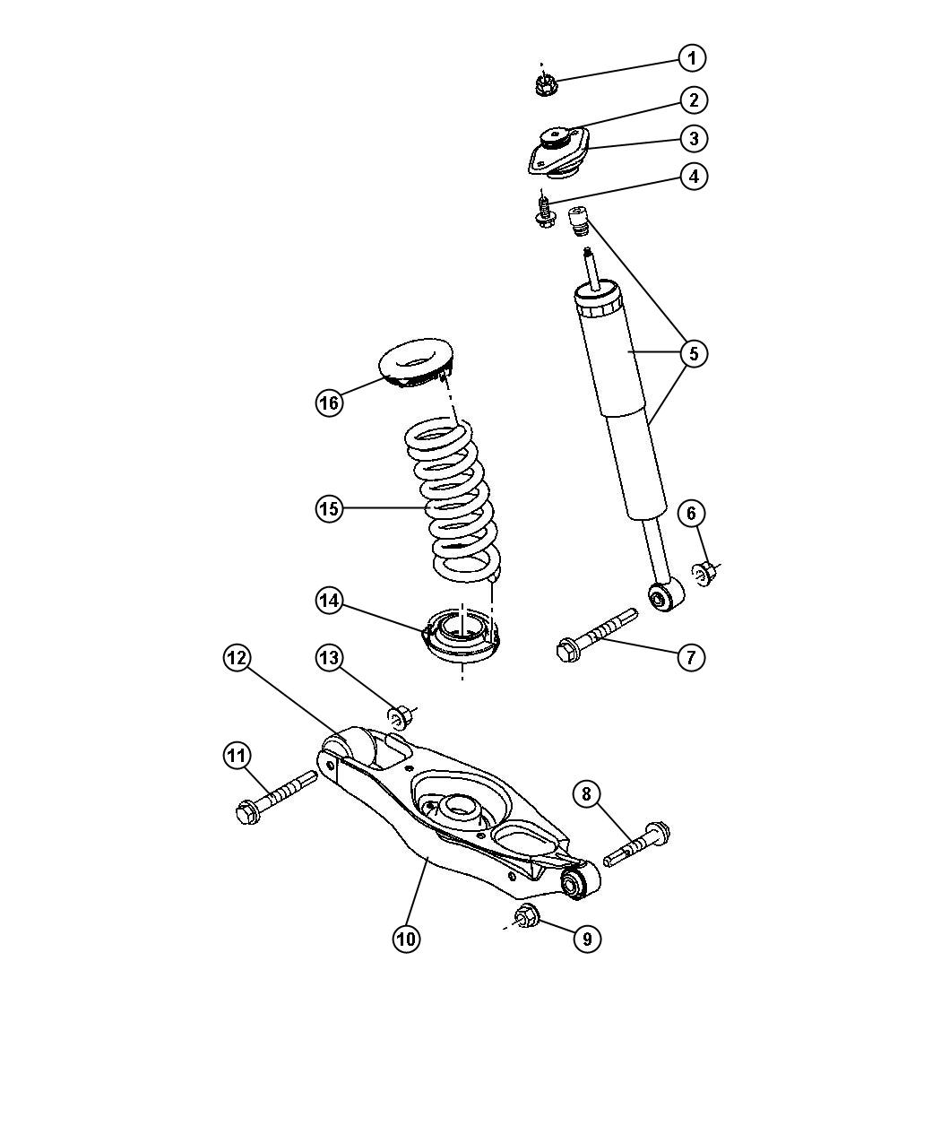 2006 Dodge Charger Shock absorber. Suspension. Rear. [sdg