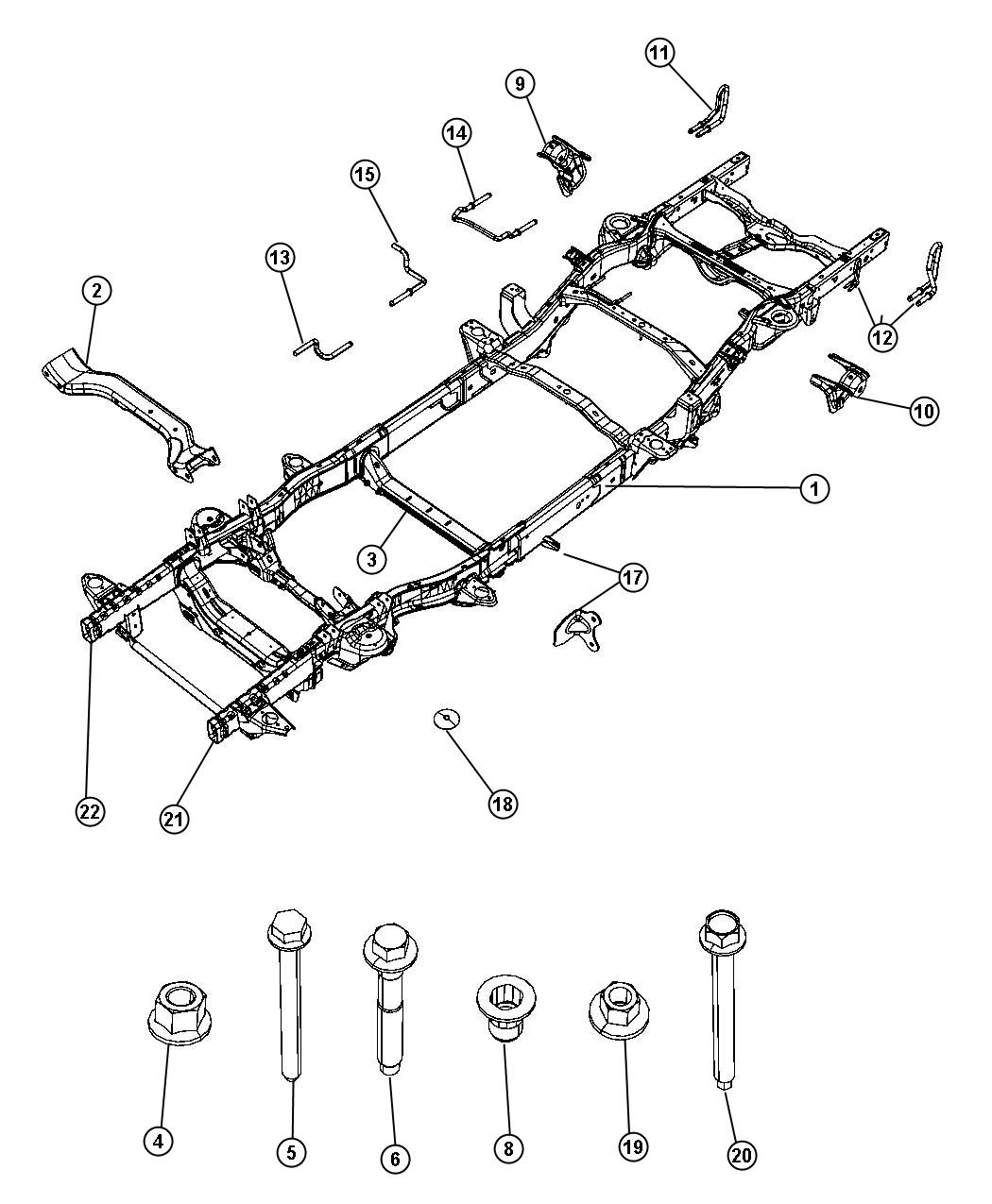 2012 Dodge Ram 1500 Crossmember. Transmission. [all v6