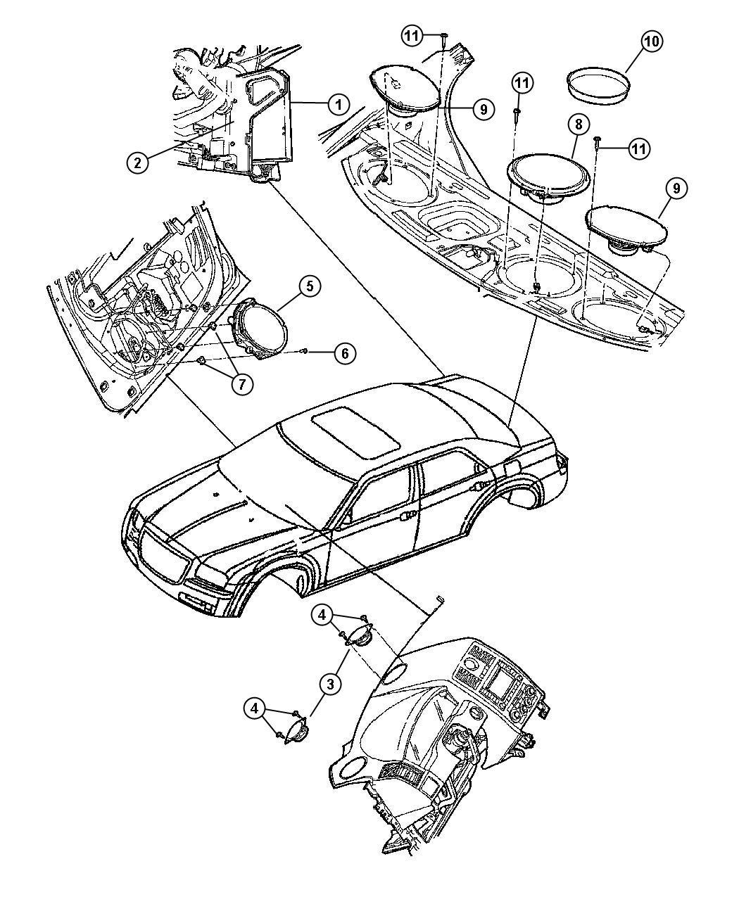 2006 Dodge Charger Speaker. Front door. 6x9. Spkrs, perf
