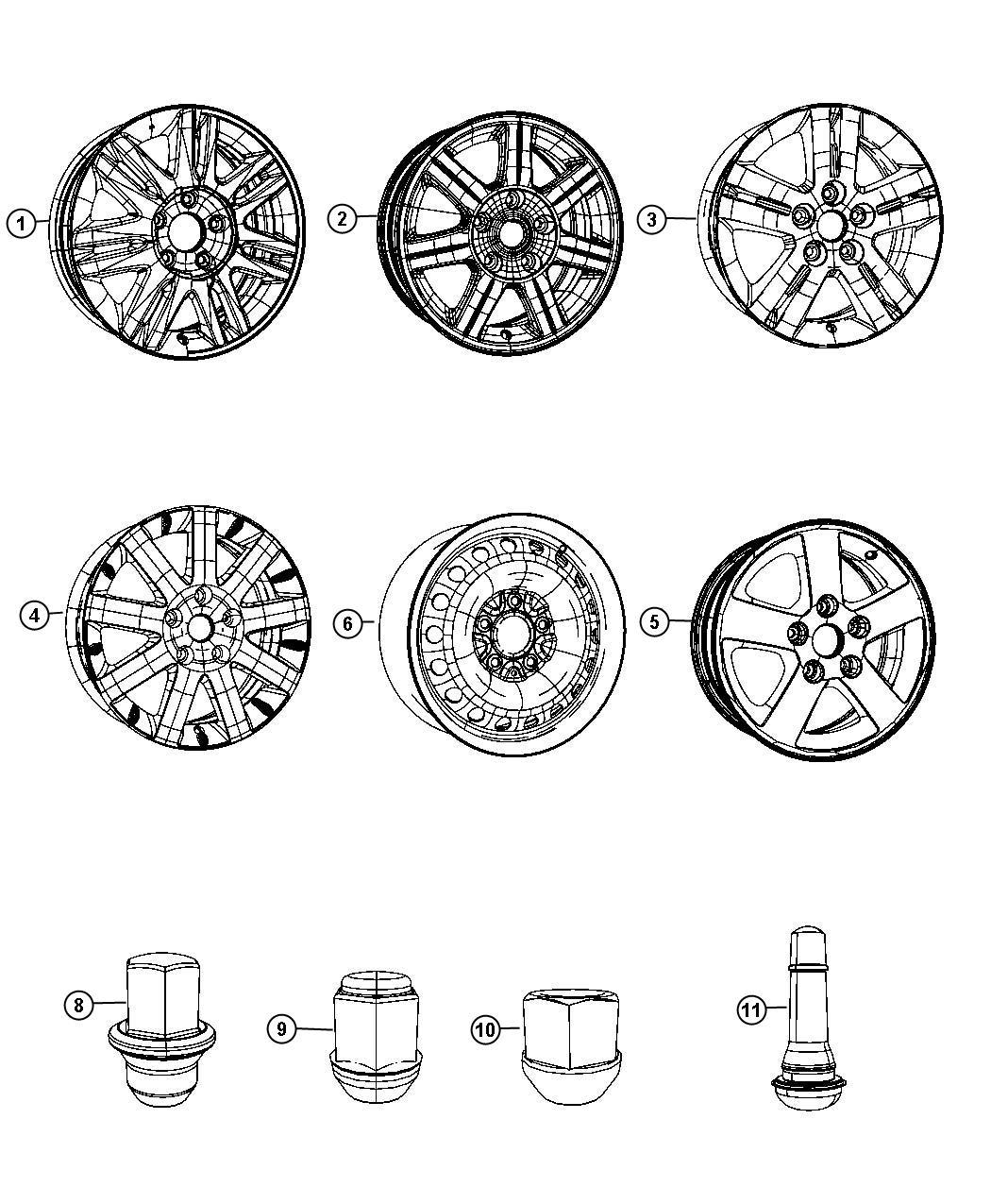 2010 Dodge Grand Caravan Wheel. Aluminum. [17x6.5 aluminum