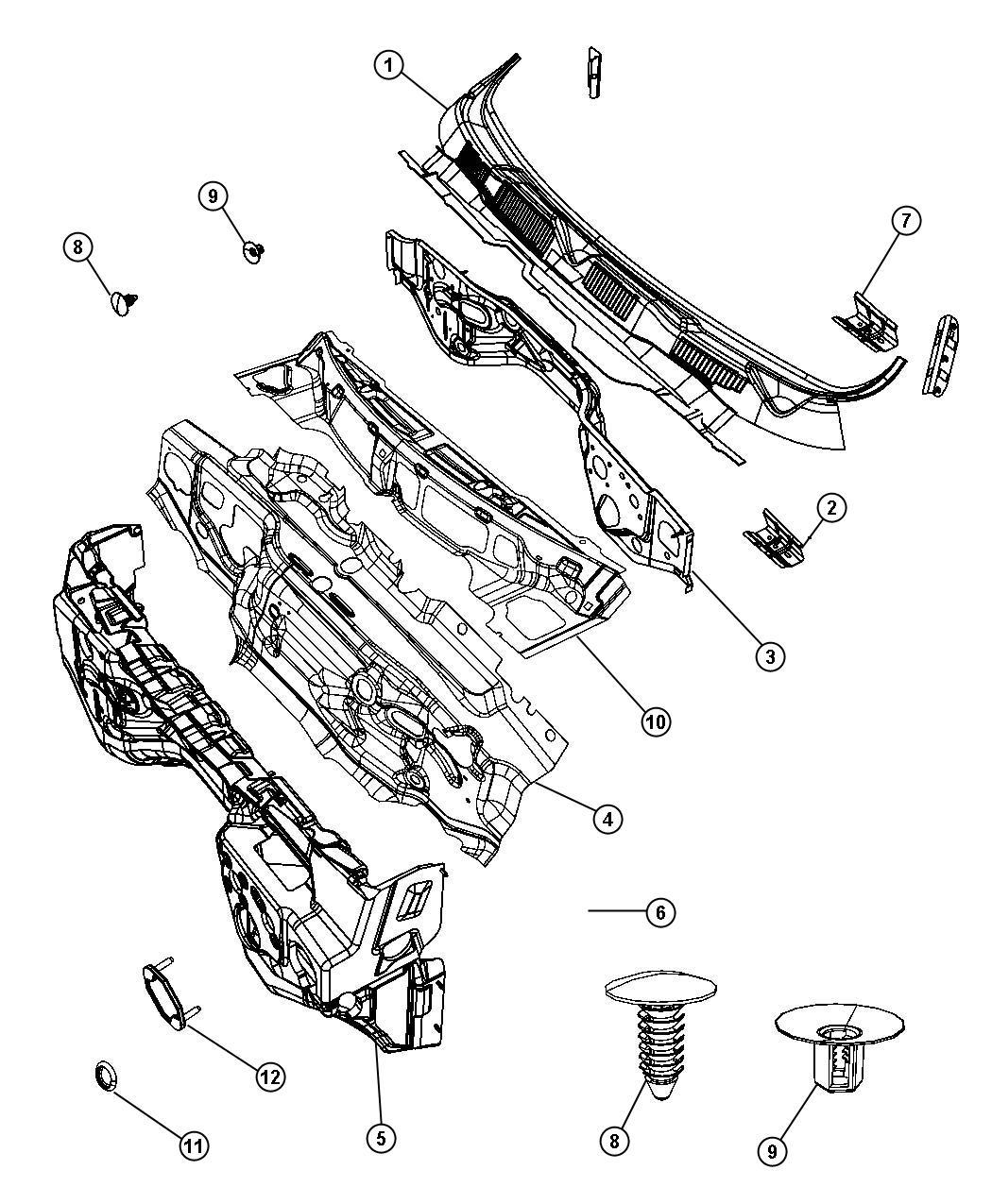 Dodge Ram Panel Cowl Top Related Dash Wiper