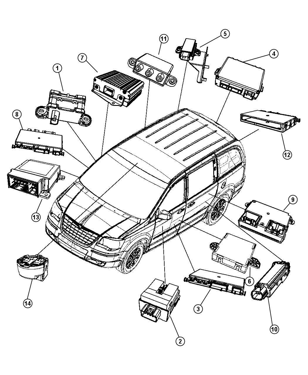 Dodge Grand Caravan Module. Sliding door. Track. Modules