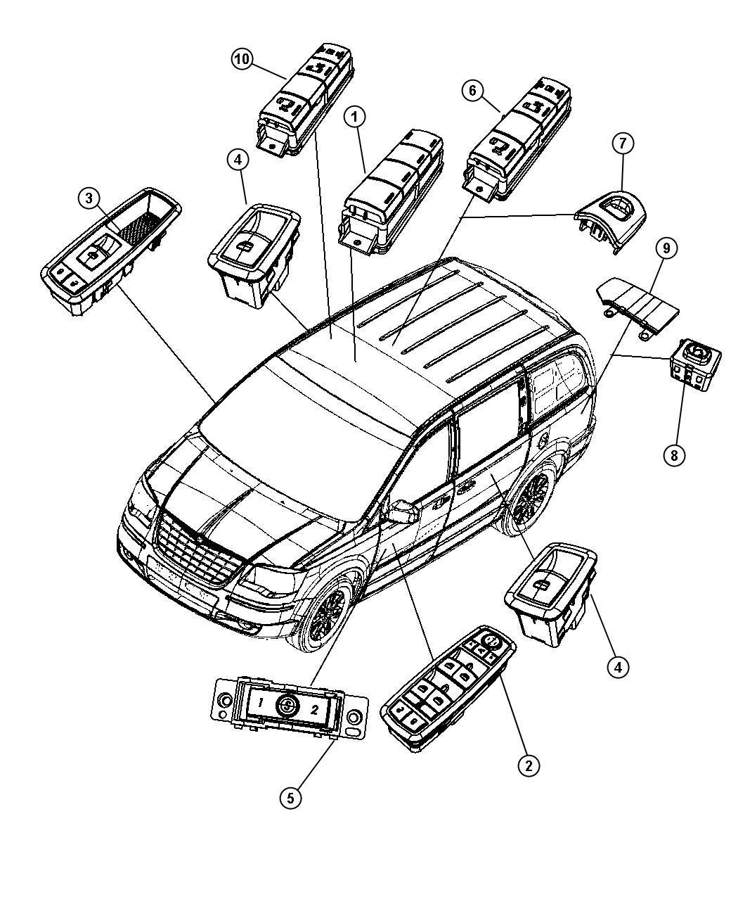 Dodge Grand Caravan Switch. Power window. Sliding, door