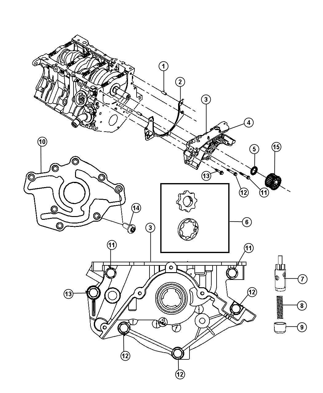 Dodge Grand Caravan Pump. Engine oil. Complete pump
