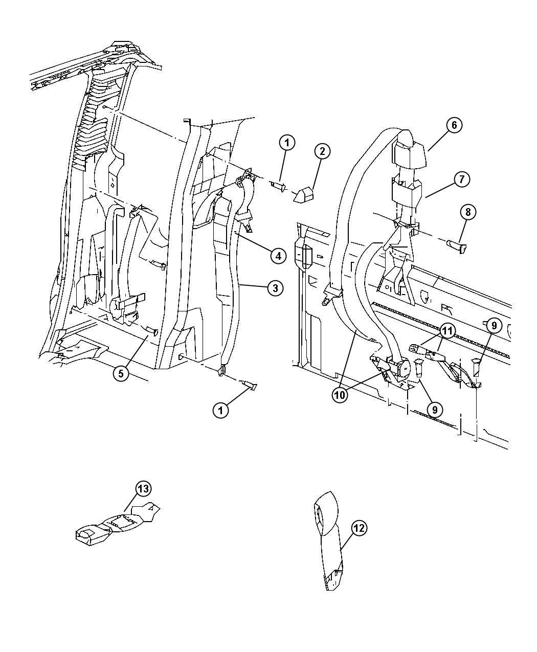 Dodge Ram Seat Belt Rear Inner Trim All Trim