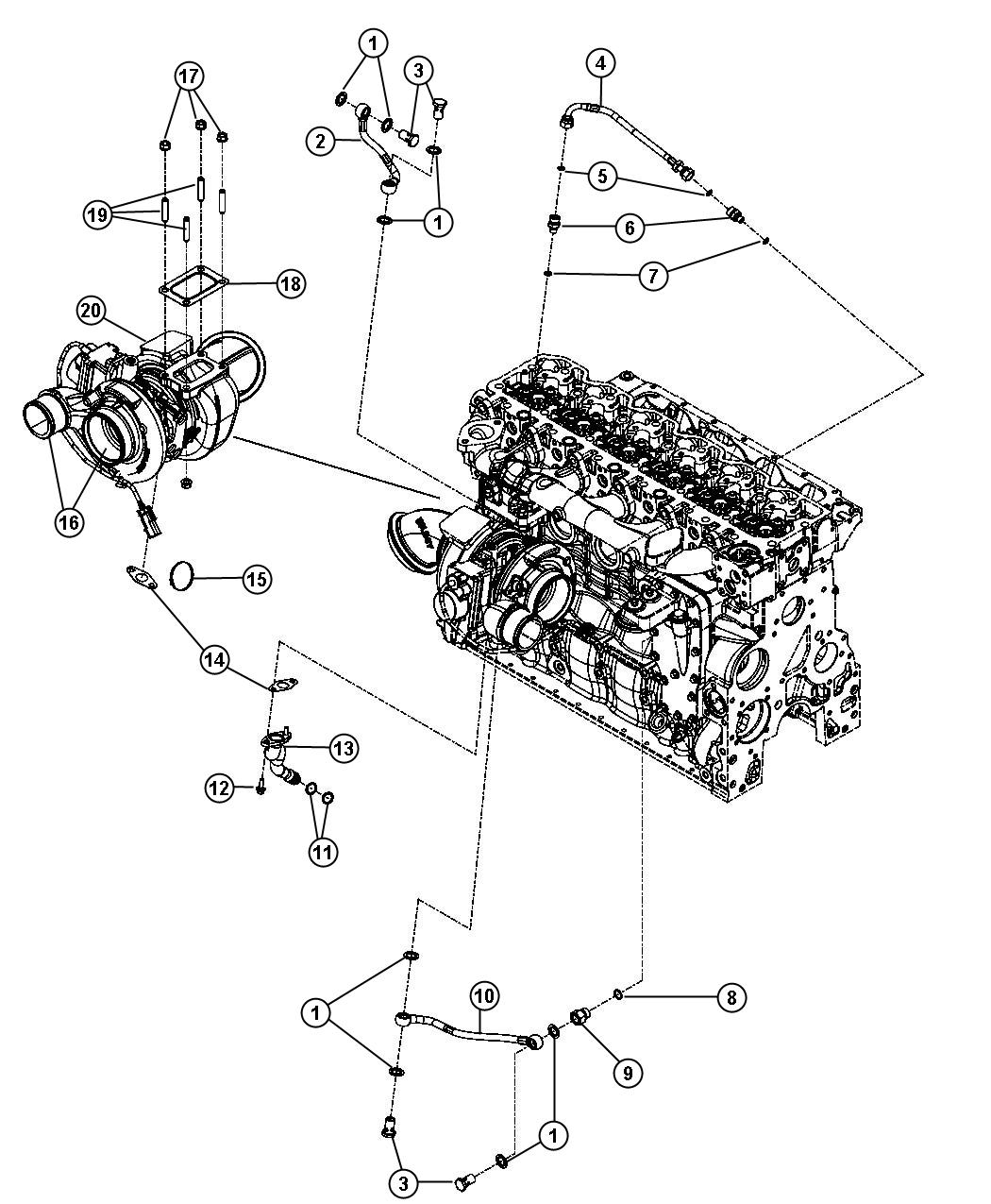 Dodge Ram Tube Turbo Oil Drain Coolerblack Redk
