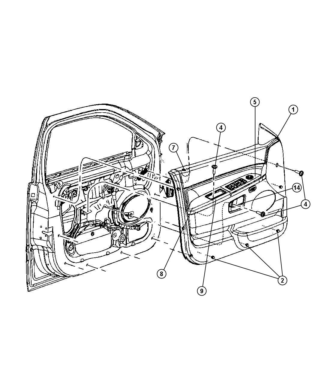2010 Jeep Commander Fastener. Door trim panel. Trim: [all