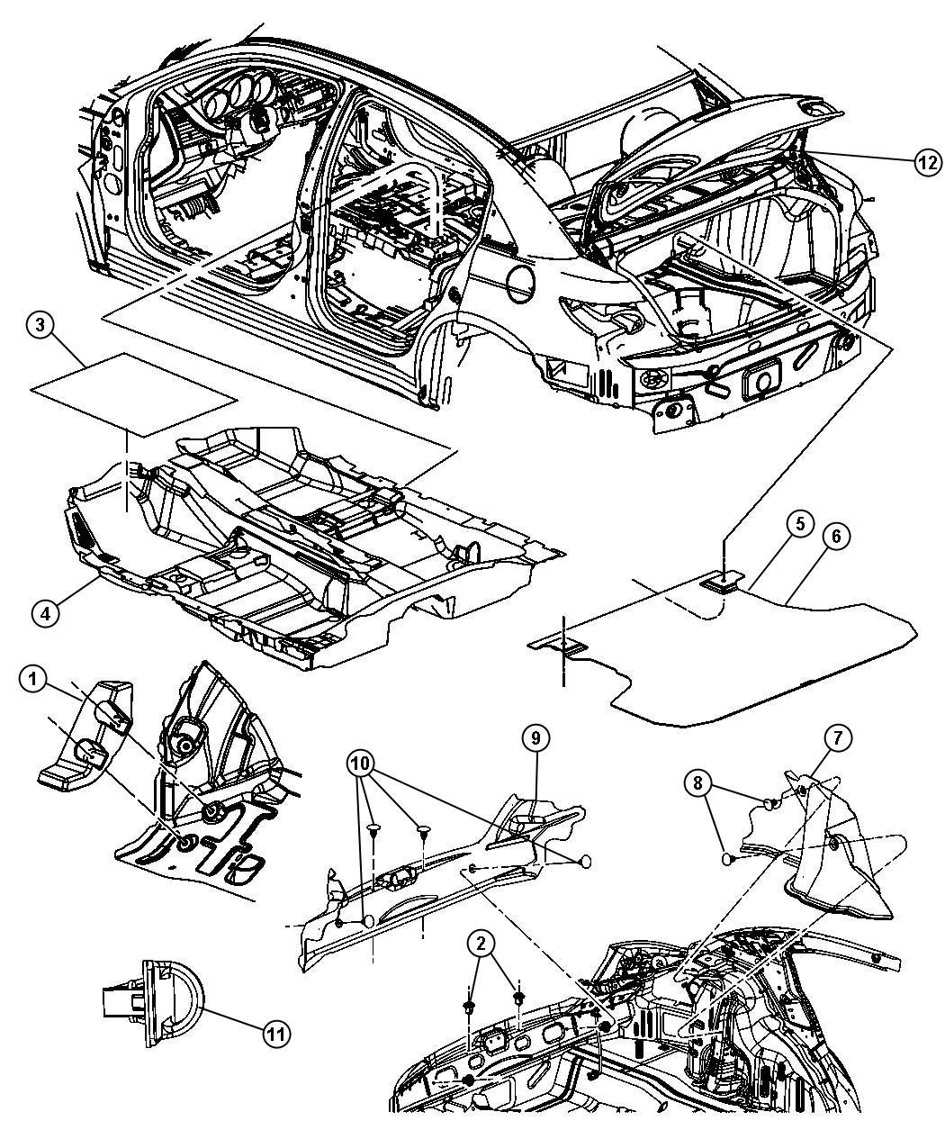 Chrysler Sebring Carpet. Floor. [t1], [2.0l i4 dohc diesel