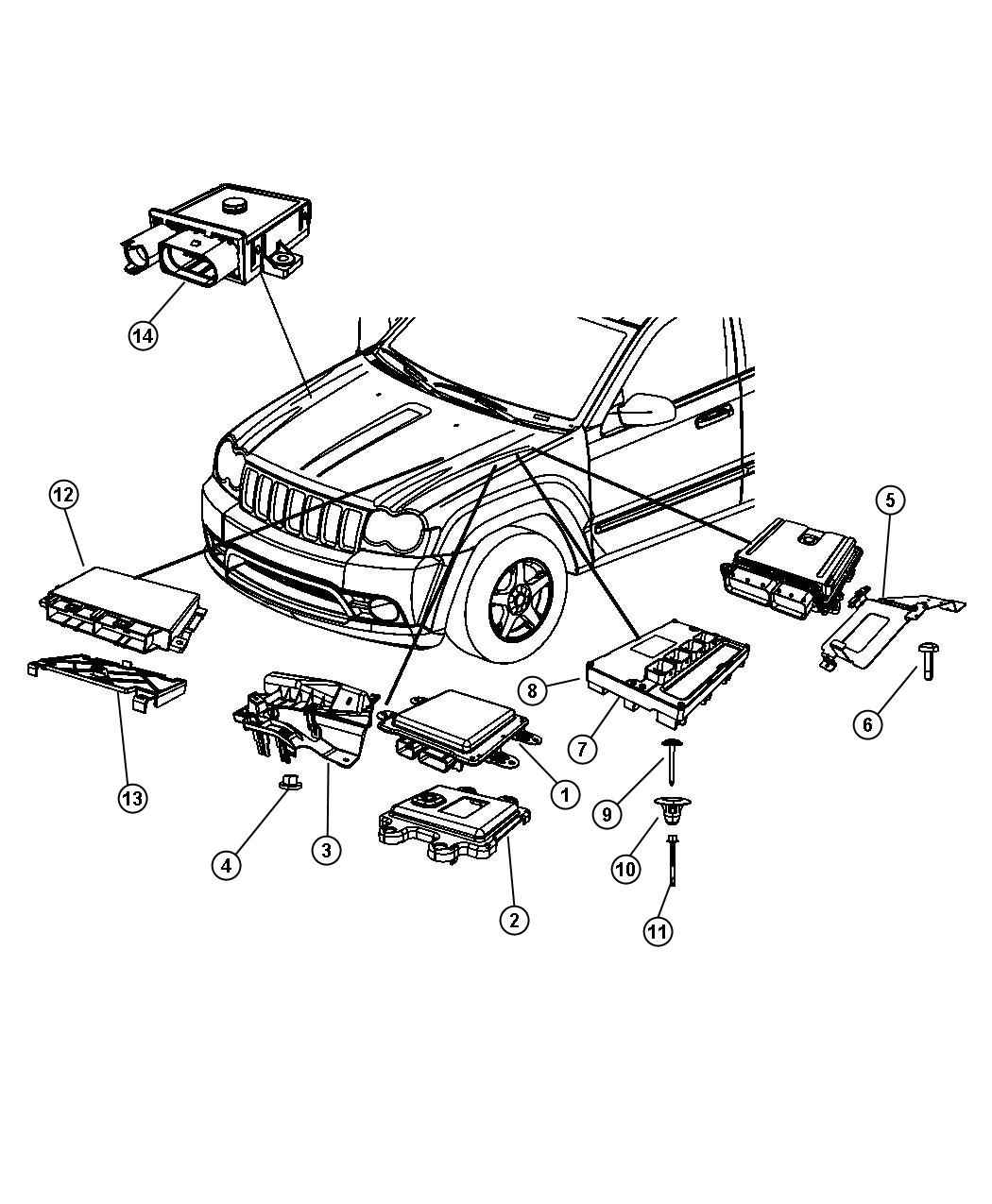 2009 Jeep Grand Cherokee Module. Front control. Engine
