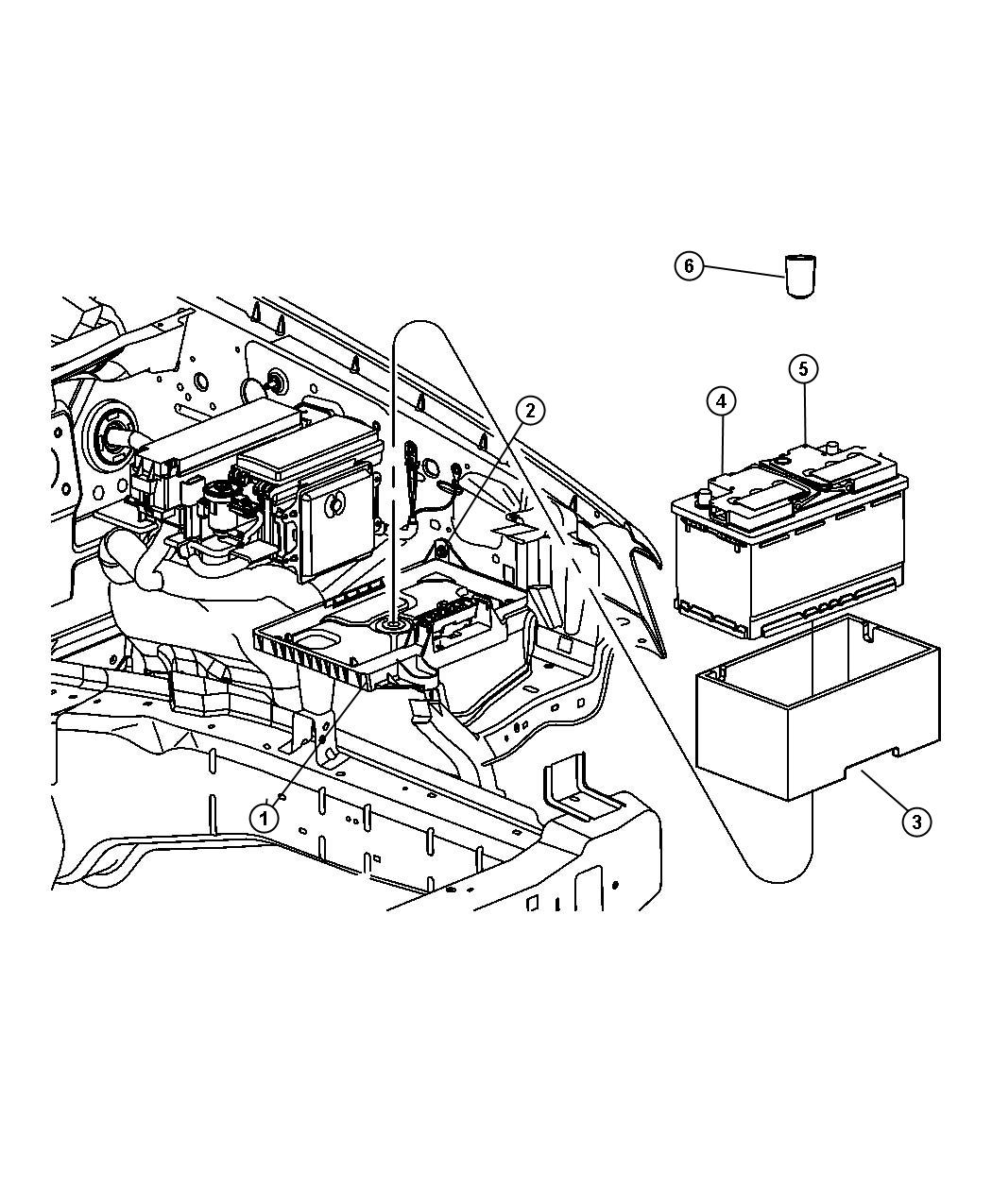 Dodge Challenger Support. Battery, battery tray