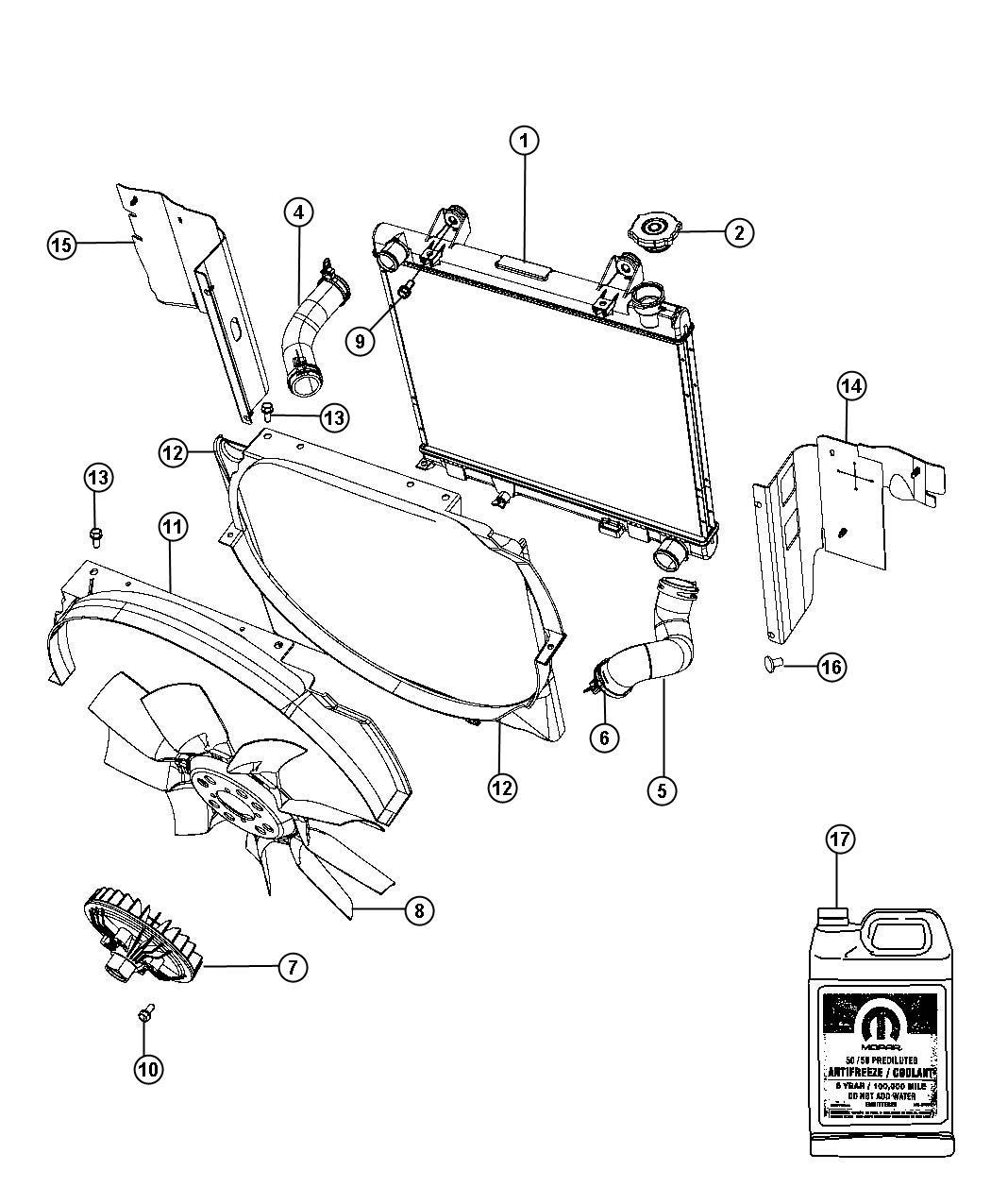 Dodge Dakota Grommet kit. Radiator mounting. Used for