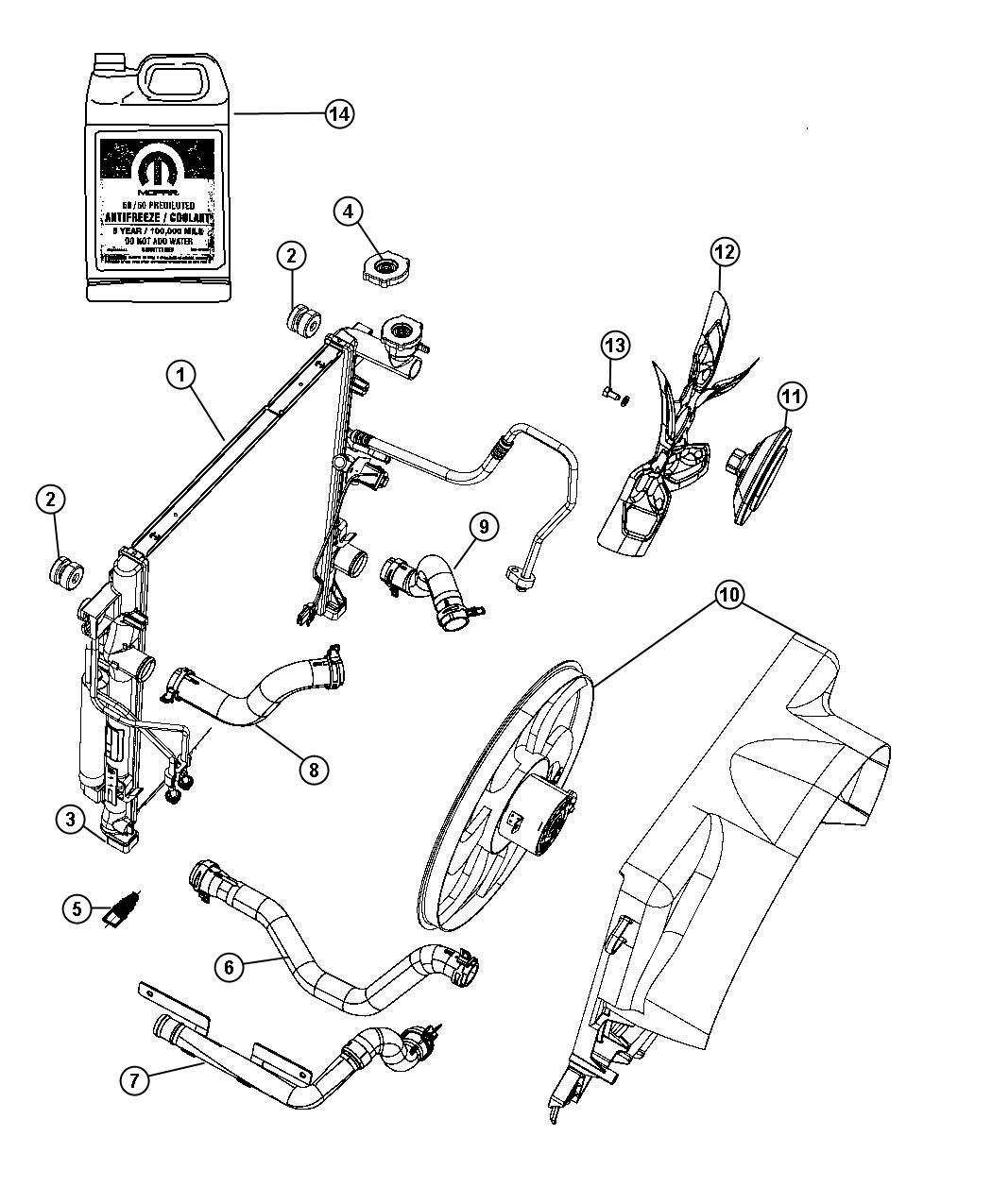 2010 Dodge NITRO Radiator. Engine cooling. Conditioning