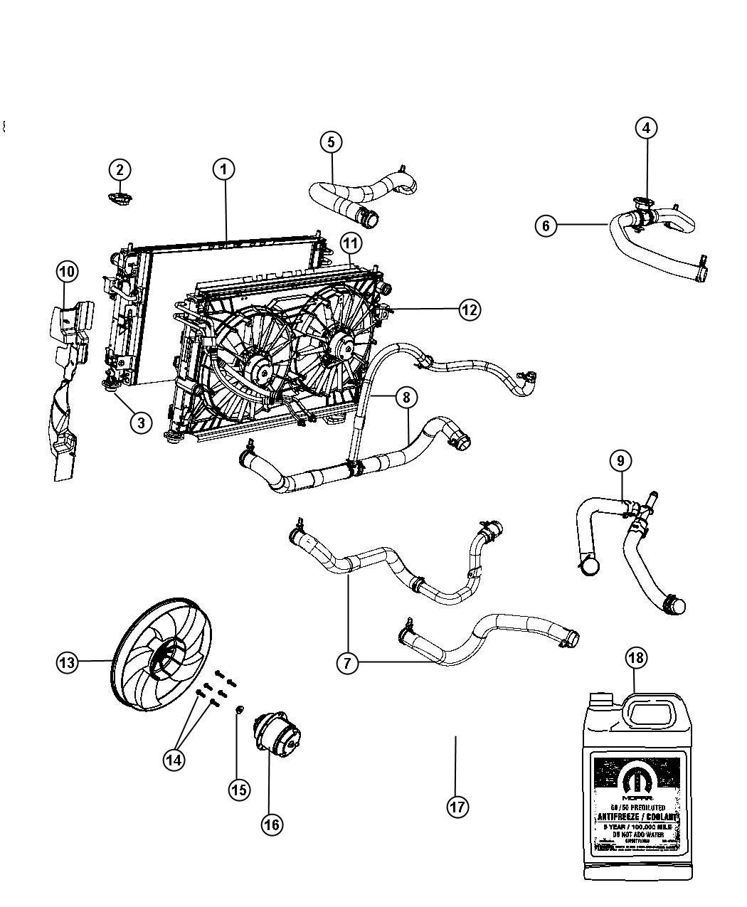 Dodge Avenger Hose Radiator Inlet Air Related Cooling