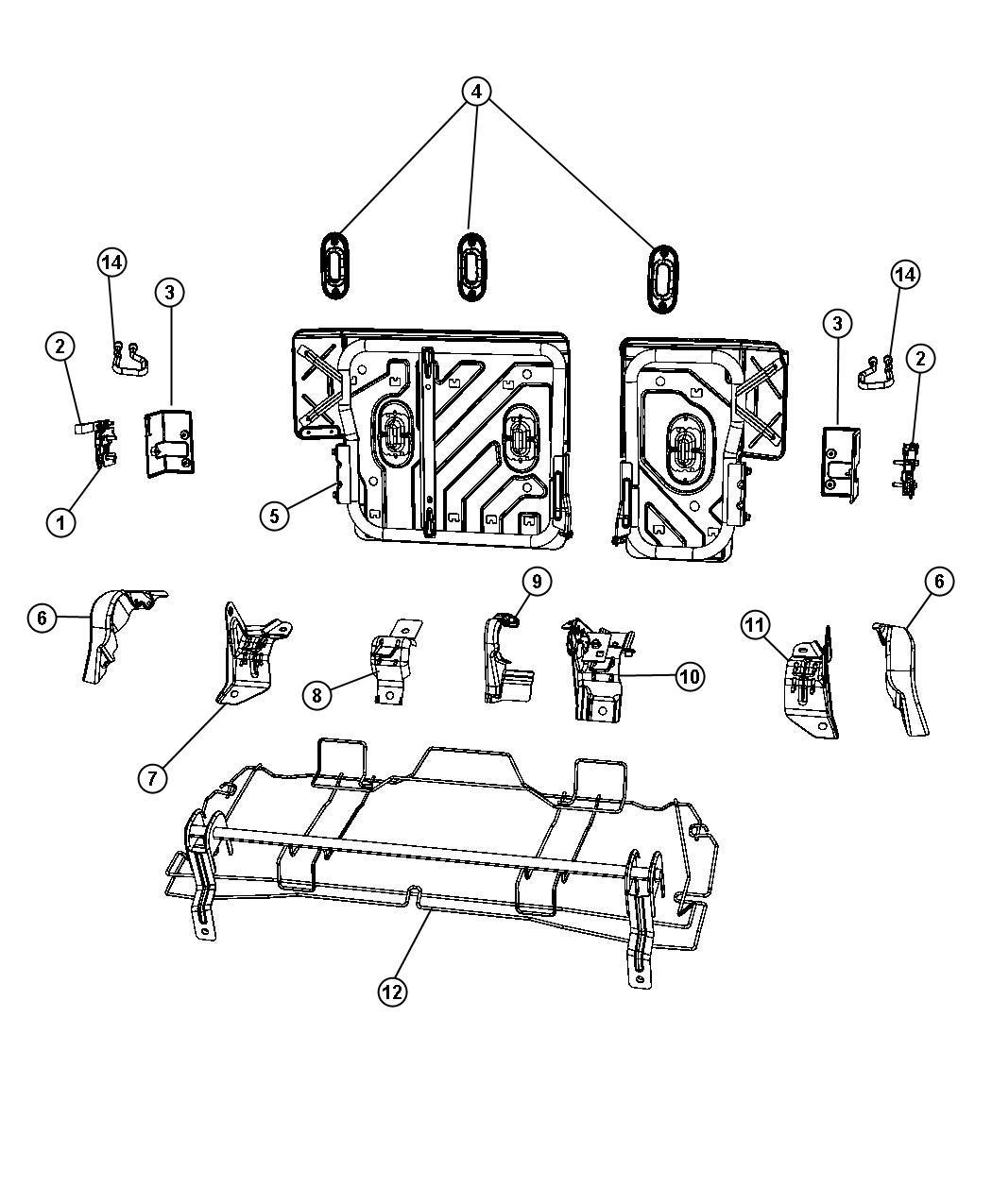 Jeep Patriot Screw Seat Cushion Frame Rear Reclining