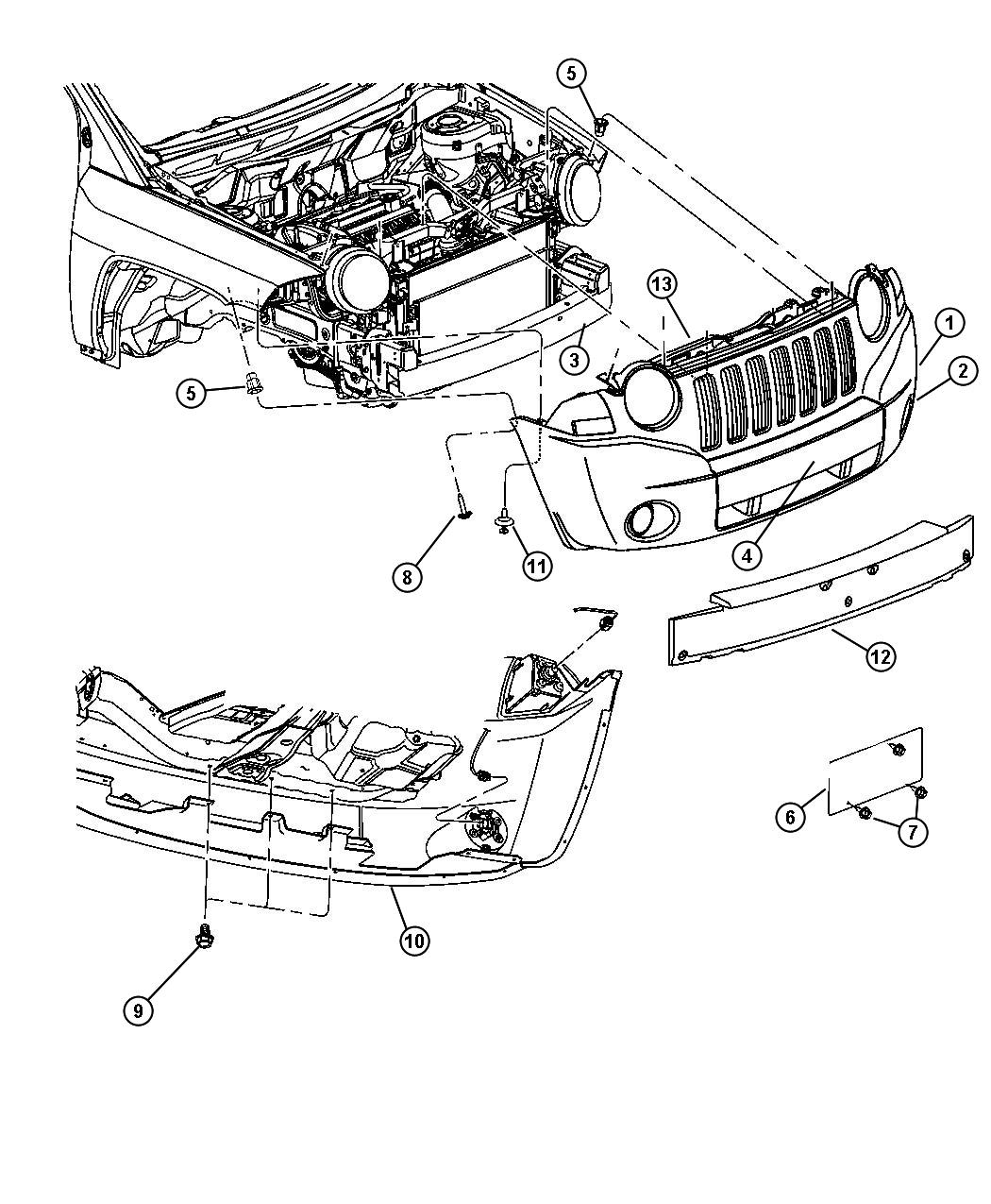 Jeep Patriot Parts Diagram 2007 Front Bumper