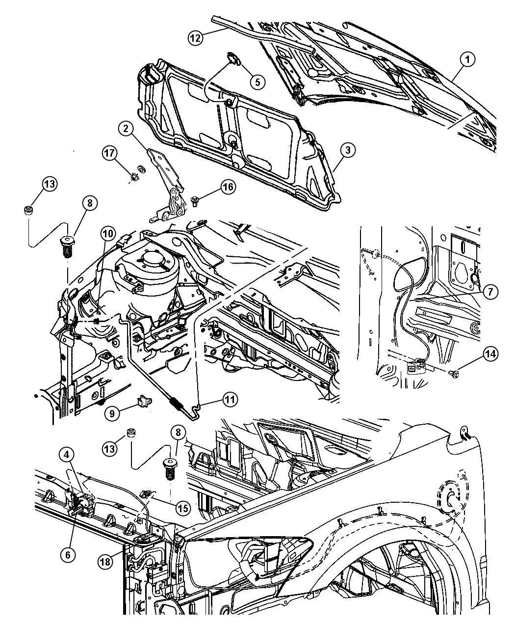 2010 Dodge Caliber Prop. Hood. Without [hood power bulge