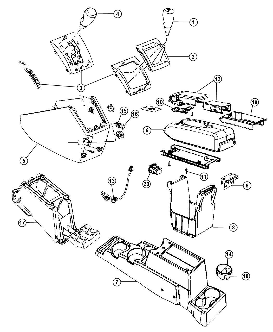 2010 Dodge Caliber Bin. Floor console. [dv], [dv], [cuf