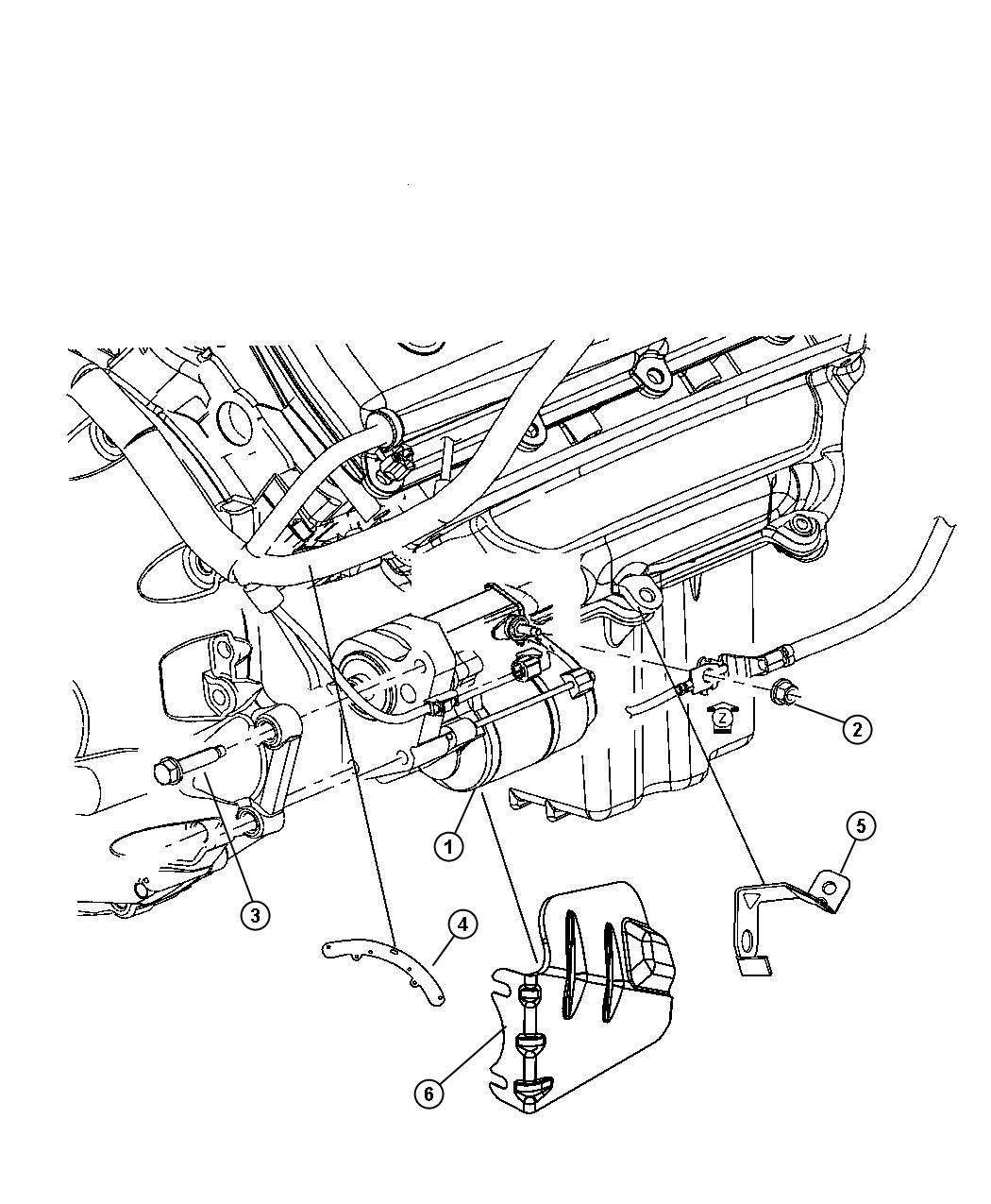 2005 Dodge Magnum Bracket. Wiring harness. Starter, engine