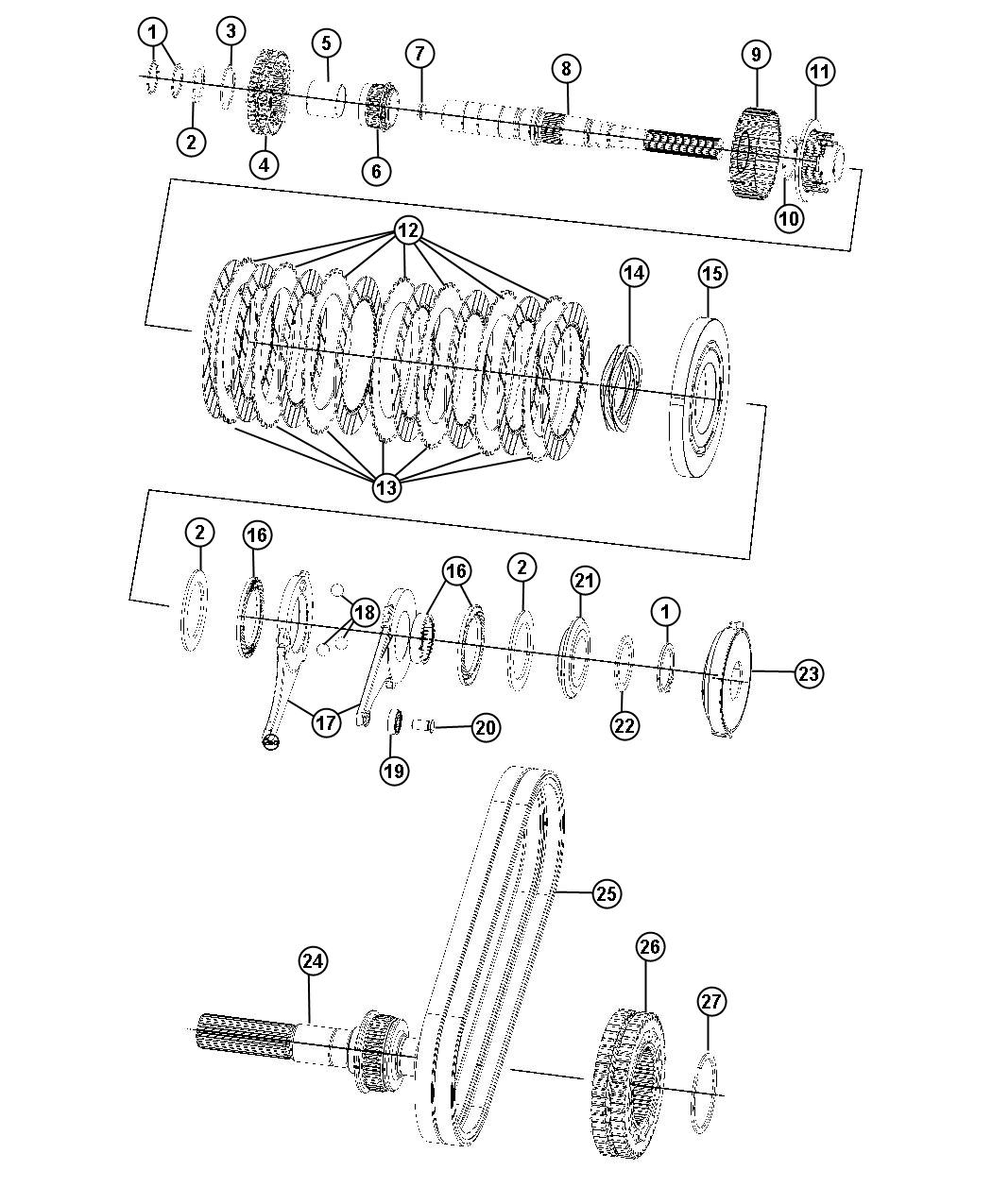 Dodge Durango Output shaft. Transfer case. Dhr